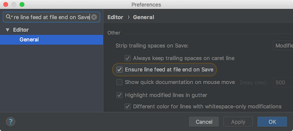 Ensure line feed at file end on Save