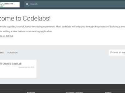 Google Codelabs Landing Page