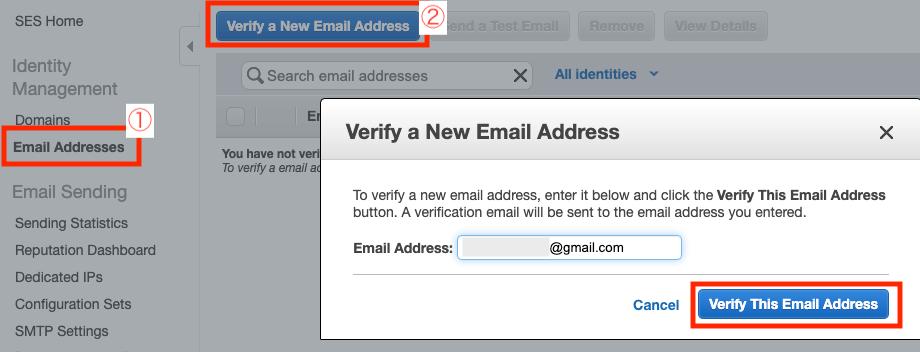 Amazon SES Verify a New Email Address
