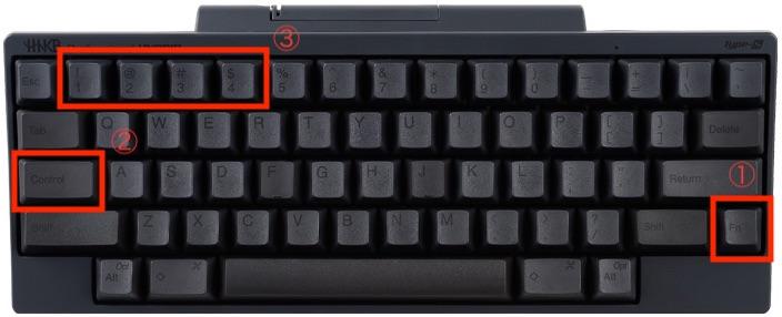 HHKB HYBRID Type-S Fn + Control + 数字
