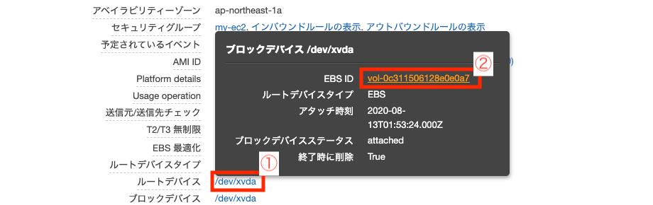 EC2 詳細画面の EBS ID をクリック