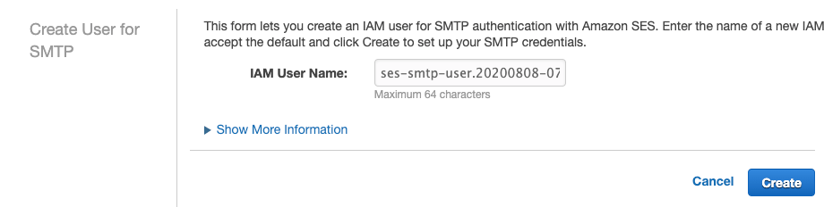 Amazon SES Create User for SMTP