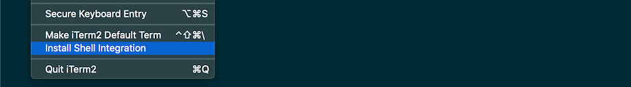 iTerm2 Install Shell Integration